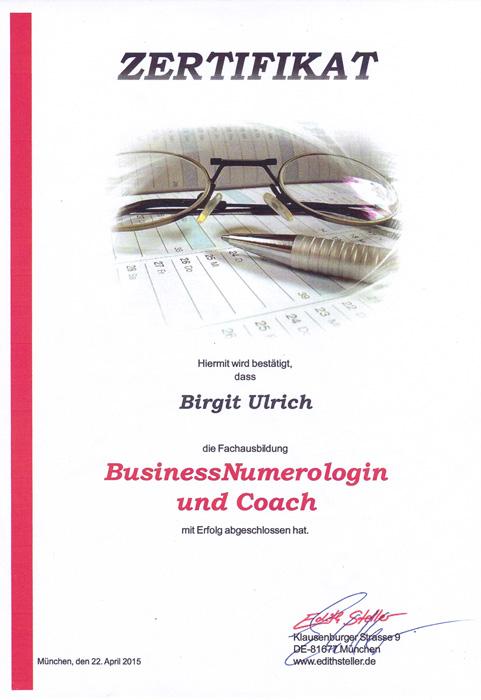 Birgit Ulrich Zertifikat